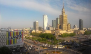 A Kultúra Palotája és az azt körülvevő felhőkarcolók