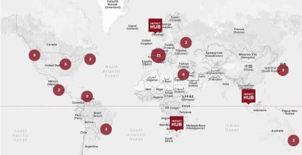 HUB világtérképe (Forrás: http://www.impacthub.net/)