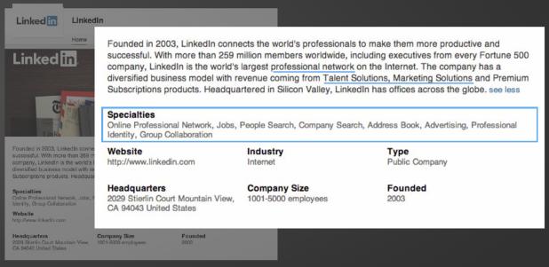 A LinkedIn cég saját LI oldalán minden mező tökéletesen ki van töltve és az aláhúzott kulcsszavakkal keresőoptimalizálták a saját oldalukat.