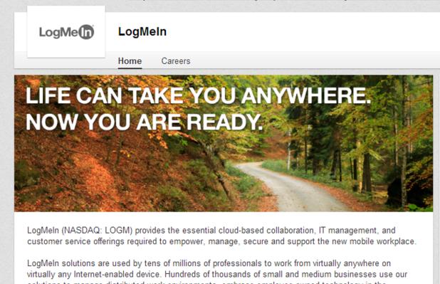 A LogMeIn borítóképe egy pozitív jövőképbe csomagolt termékelőnyt emel ki.