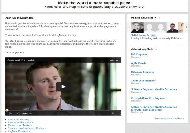 """A LogMeIn Career oldala egy pozitív üzenettel nyit, van """"miért jó nálunk dolgozni"""" videó, jobb oldalt listázva a nyitott pozíciók, és alul linkelve az összes többi oldaluk, építve ezzel a bizalmat."""