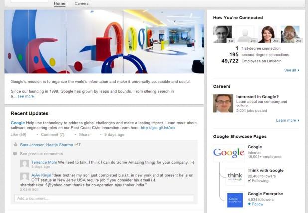 A Google oldalán jobb oldalt lent látható a két Showcase Page, amivel jelen van a LinkedIn-en. Felette egy érdekesség, hogy a fotómmal kvázi rám szabva kínál 2001 álláslehetőséget.